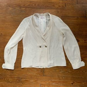 Parker Ivory Blouse Small 100% silk